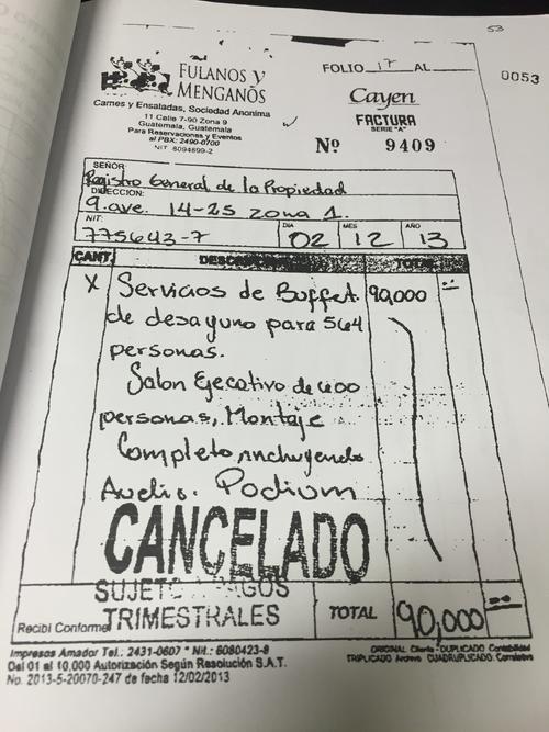 Esta es la factura que habría facilitado el hijo de Jimmy Morales. (Foto: Soy502)