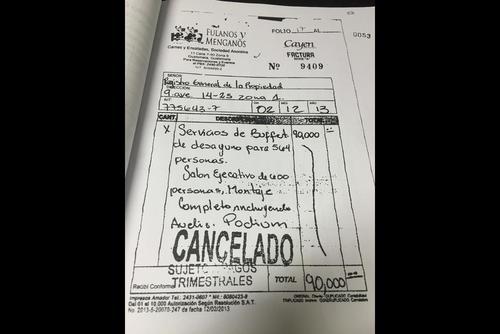 Vista de la factura que facilitaron el hijo y hermano de Jimmy Morales. (Foto: Soy502)