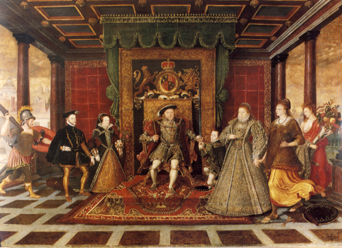 Las tensiones entre el matrimonio religioso y el civil no son nuevas. El rey Enrique VIII, al centro de esta imagen, provocó una auténtica revolución en Inglaterra  y la geopolítica de Europa para anular su primer matrimonio con Catalina de Aragón. Este soberano se casó seis veces. (Foto: Wikipedia).