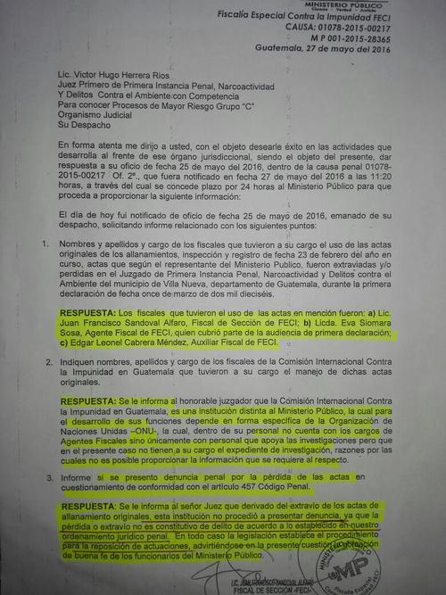 Vista del informe que el MP presentó al juez de Mayor Riesgo.