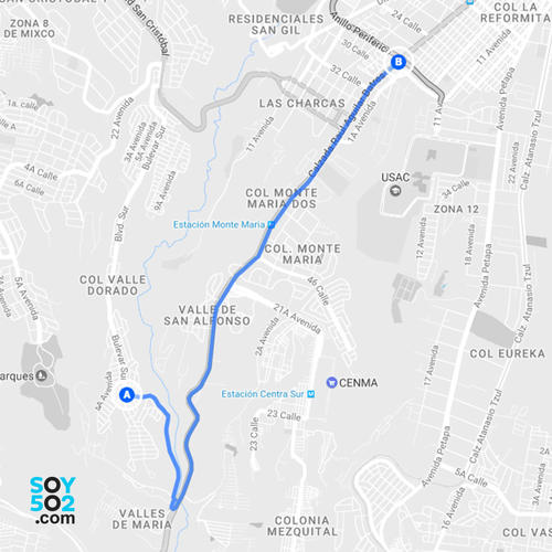 Por las mañanas, para quienes viven en el bulevar sur de San Cristóbal, puede ser más sencillo salir por la calzada Aguilar Batres que por el bulevar principal de San Cristóbal. (Imagen: Javier Marroquín/Soy502)