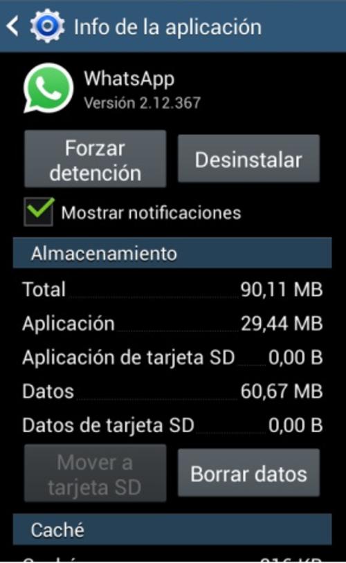 Ajustes del teléfono en Android.
