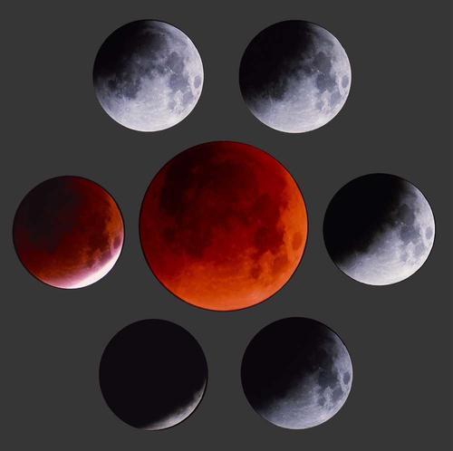 Estos siete fotogramas muestran la evolución del eclipse total de luna del 17 de agosto de 1989.  La primera imagen, arriba a la izquierda, muestra el inicio. La evolución de la sombra debe seguirse en sentido de las manecillas del reloj, hasta llegar a la imagen del centro, donde la luna muestra un bello color rojizo. (Foto: estrellasyborrascas.com)