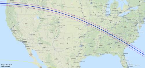 Camino del eclipse total de EE.UU. (Imagen: OpenStreetMap)