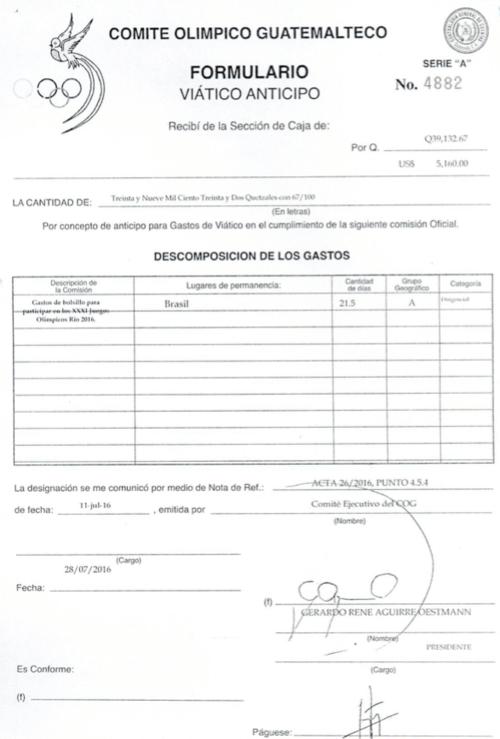 Esta es la constancia del dinero entregado por el COG a Gerardo Aguirre. (Foto: Soy502)