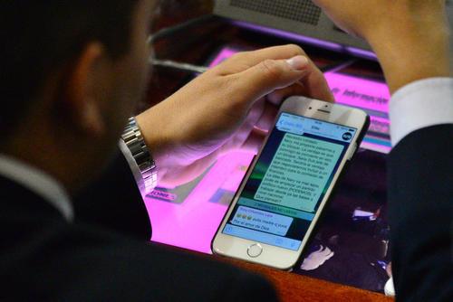 La pantalla del celular de Giordano, fue la que reveló la creación del bloque PODEMOS.