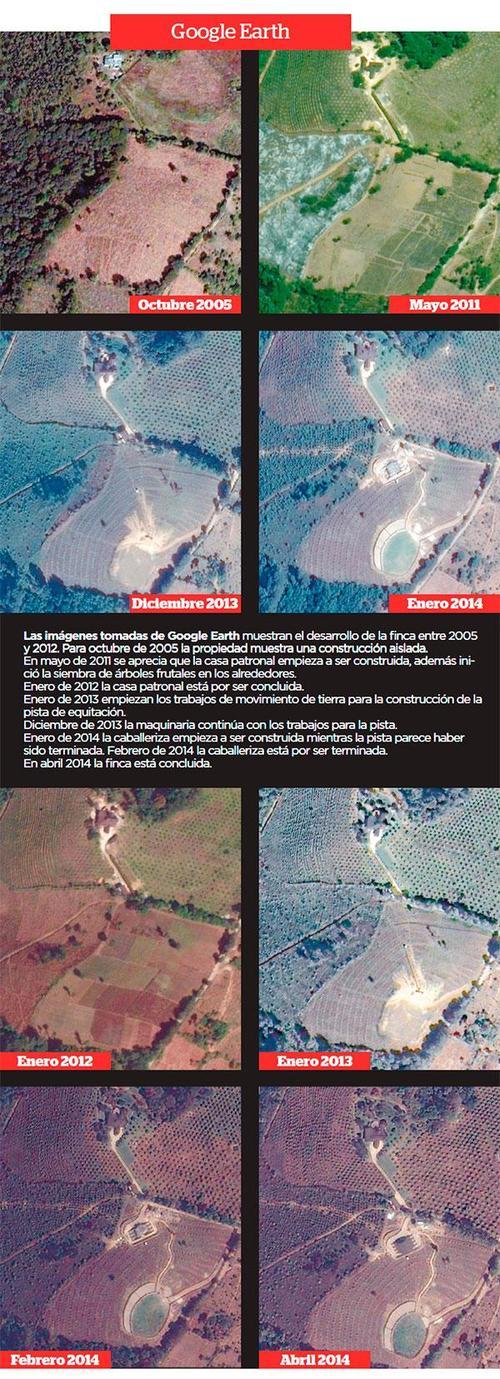 Las imágenes tomadas de Google Earth por elPeriódico, muestran el desarrollo de la finca durante los años 2015 al 2012. (Foto: elPeriódico)