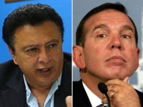 Alfredo Hawit, hondureño, presidente de Concacaf, y Juan Ángel Napout, de Conmebol. (Foto: periodicocorre.com.mx)