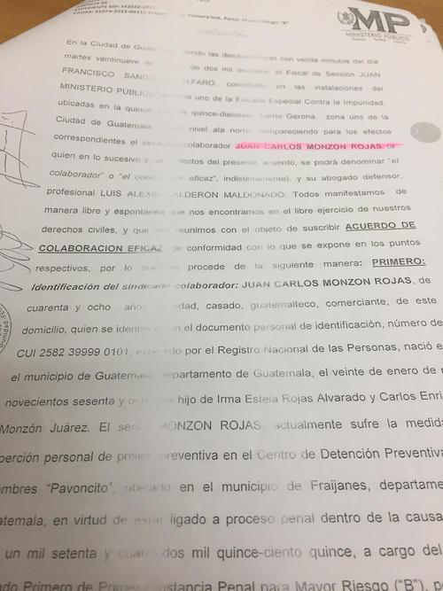 Vista del convenio de colaborador eficaz de Juan Carlos Monzón por el caso La Línea.