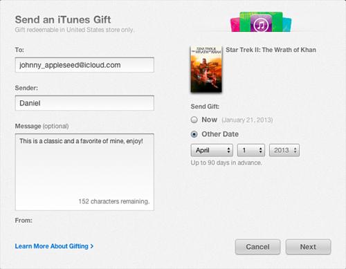 Describe la dirección de correo electrónico a donde deseas enviar el regalo.