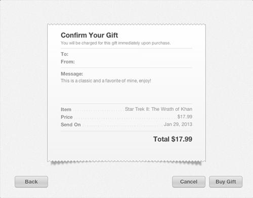 Confirma el regalo.
