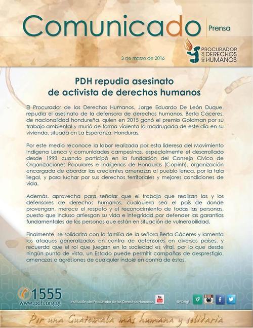 En Guatemala, la PDH lamentó el asesinato de la activista.
