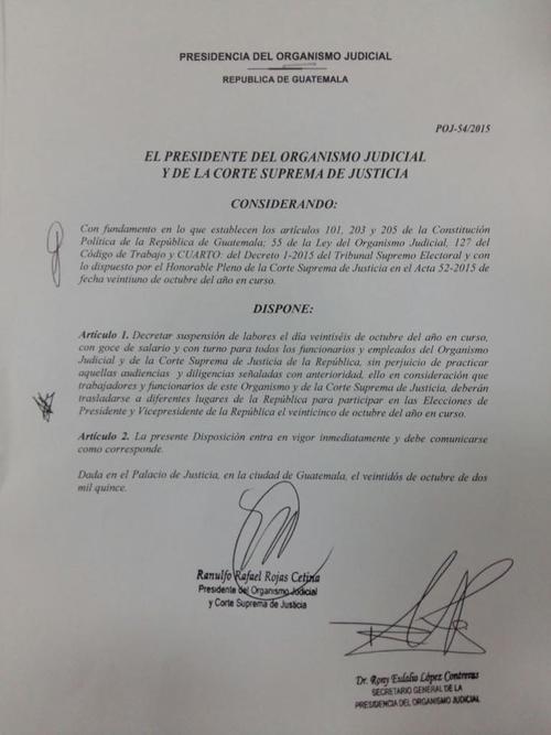 En el comunicado se establece la suspensión de labores y diligencias para el próximo lunes.  (Foto: OJ)