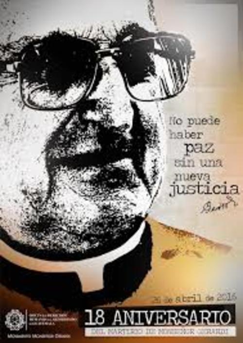 Imagen conmemorativa del aniversario de la muerte de Monseñor Gerardi elaborada por la Oficina de Derechos Humanos del Arzobispado de Guatemala.