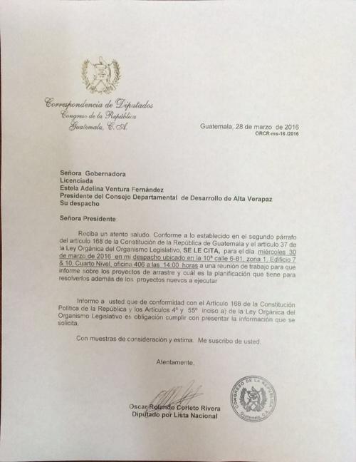 Carta enviada a la gobernadora para la citación del 30 de marzo.