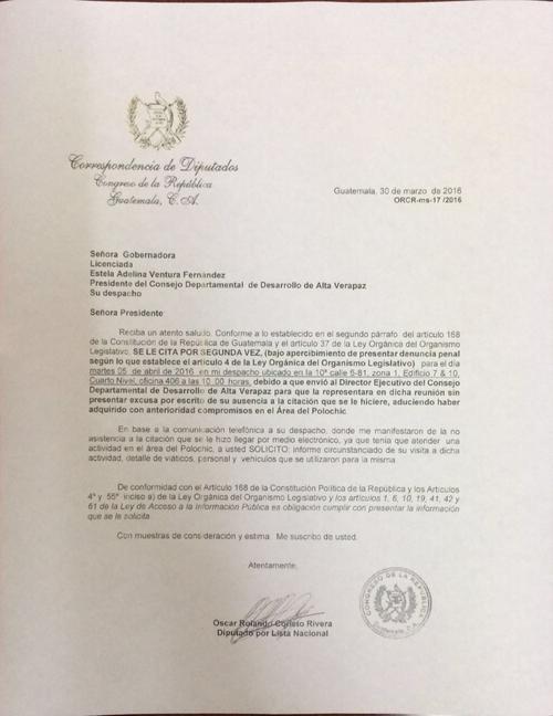 Segunda carta enviada a Ventura por no haberse presentado a la primer citación.