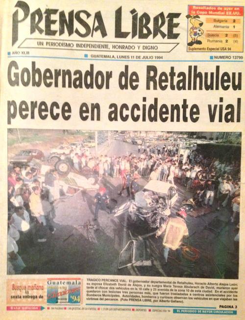 El padre de Ricardo Alejos era gobernador de Retalhuleu. El accidente donde él y su esposa perdieron la vida apareció en portada de los principales diarios del país. (Foto: cortesía Horacio Alejos David).