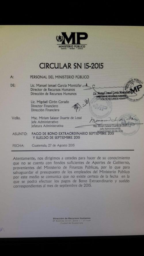 Esta es la copia de la circular que fue enviada a los fiscales.