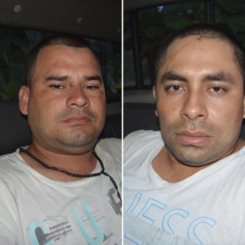 Edy Armando Casasola Franco de 31 años y Luis Ángel Ochoa Fuentes de 28, copiloto y piloto del camión que transportaba 580 kilos de cocaína. (Fotos: PNC)