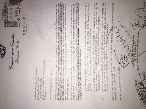 En la solicitud del partido Lider se puede leer que no se encuentra conocer el antejuicio contra Pérez Molina. (Foto: Alexis Batres/Soy5029
