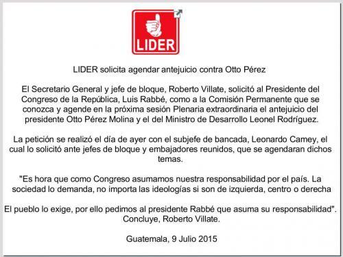 Lider emitió un comunicado de prensa donde expresó su postura sobre el antejuicio de Otto Pérez.
