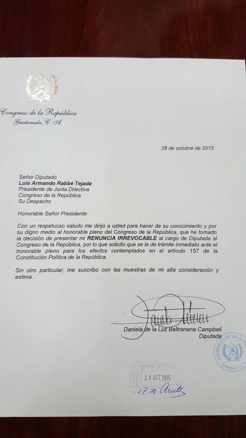 Daniela Beltranena presentó su carta de renuncia 24 horas después de que asumió la curul. (Foto: Archivo/Soy502)