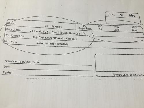 Vista de la nota de envío localizada junto al cronograma de estrategia de Gustavo Alejos.