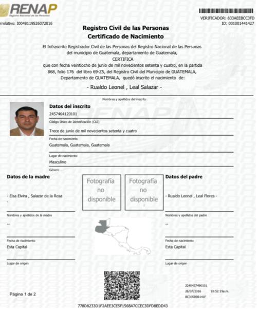 Certificado de nacimiento de Rualdo Leonel Leal Salazar. (Foto: Renap)