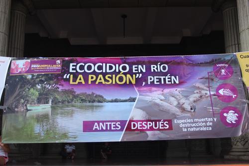 Los manifestantes desplegaron varias mantas para hacer un llamado a las autoridades para que apoyen a las comunidades afectadas por la contaminación del río La Pasión. (Foto: Alejandro Balan/Soy502)