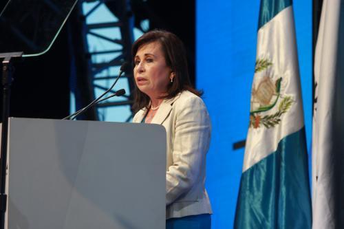 Sandra Torres durante su intervención en el ENADE. (Foto Alejandro Balán/Soy502)