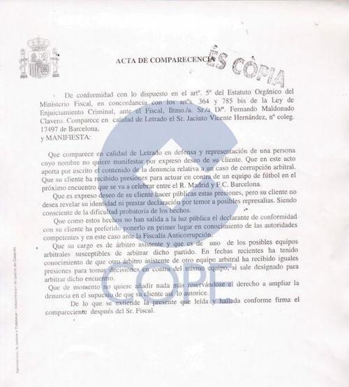 Denuncia presentada en España.
