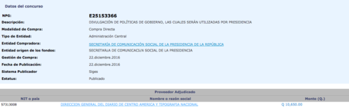 El diario oficial recibió 10 mil 650 para divulgar las políticas de gobierno. (Foto: captura de pantalla/Guatecompras)