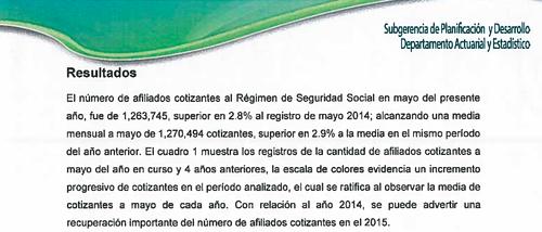 Según el IGSS, el número de afiliados cotizantes de la entidad a mayo del 2015, se incrementó en un 2.9% a la medio del mismo período del 2014. (Imagen: Informe IGSS)