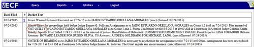 """Orellana se declaró """"no culpable"""" del delito de narcotráfico, en la audiencia que se llevó a cabo tras su extradición."""