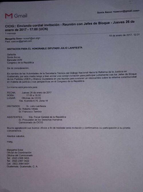 Algunos jefes de bloque fueron invitados a una reunión en la CICIG. (Foto: Giovanni Fratti/Facebook)