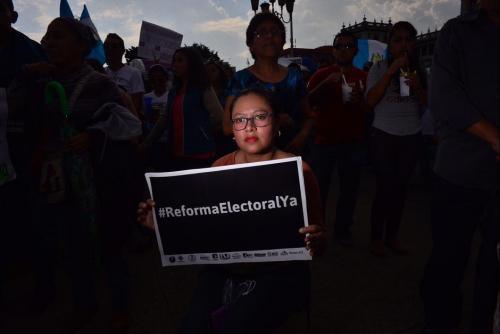 Las reformas a la Ley Electoral se convirtieron en otra demanda ciudadana durante las protestas en la Plaza de la Constitución. (Foto: Jesús Alfonso/Soy502)