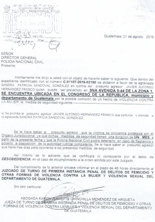 Una jueza de femicidio le prohibió a Javier Hernández acercarse a Patricia Sandoval. (Foto: José Miguel Castañeda/Soy502)