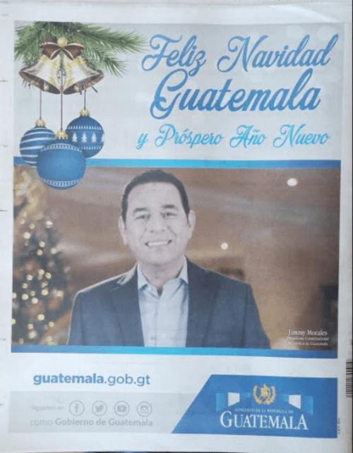 El mensaje navideño del presidente fue la contraportada del diario oficial este viernes. (Foto: José Miguel Castañeda/Soy502)