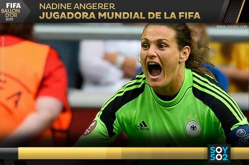 La portera de Alemania Nadine Angerer fue quien se quedó con el premio de Jugadora Mundial de la FIFA 2013.