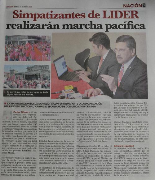 El diario La Nación publica una versión de los diputados de Lider donde se asegura que la manifestación se realizará el viernes.