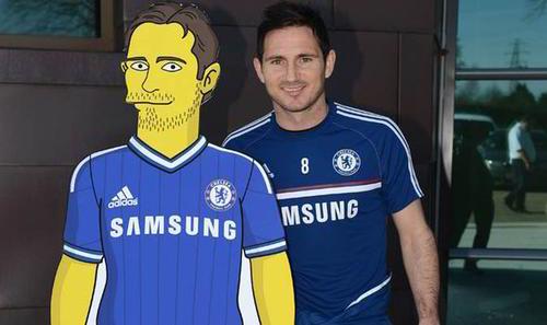El veterano jugador Frank Lampard y su doble de Los Simpson. (Foto: Chelsea F.C)
