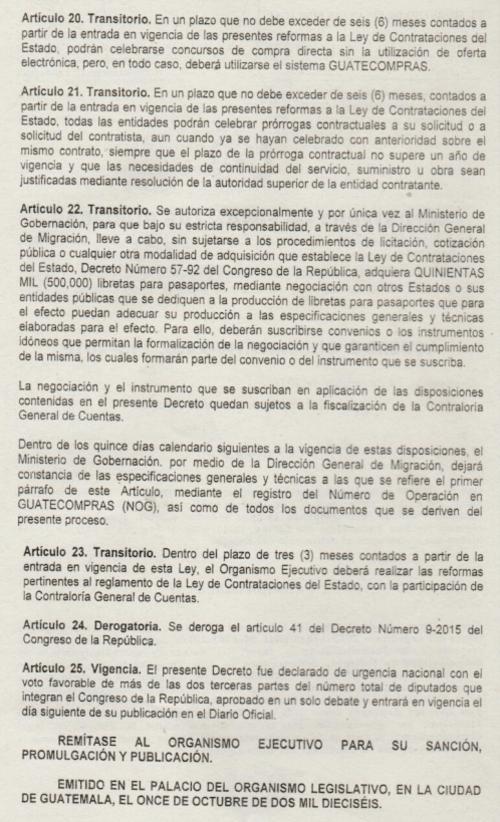 Estos artículos fueron incluidos a última hora por los diputados. (Foto: captura de pantalla/Decreto 46-2016)