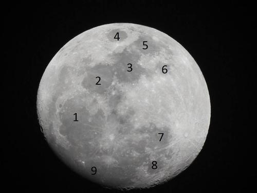 Mares Lunares numerados, vistos en otro ángulo.(Imagen: Ricardo García)