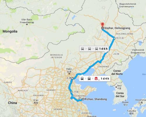 Este es el mapa del recorrido que debería haber hecho el ciclista hasta su casa. (Imagen: Sopitas)