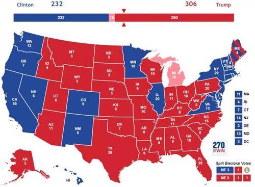 Así quedó el mapa de resultados en las recientes elecciones presidenciales de los Estados Unidos. (Imagen: Infobae)