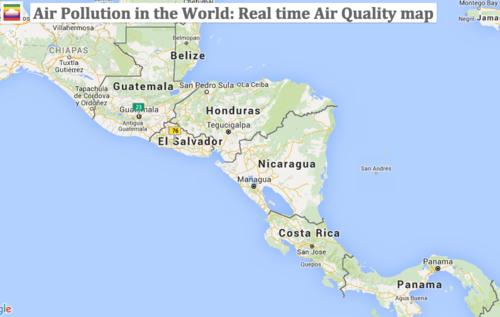 Según el mapa de contaminación ambiental del aire, Guatemala es considerado con una calidad satisfactoria del aire, lo cual no representa riesgo para la salud de sus habitantes. (Foto: waqi.info)
