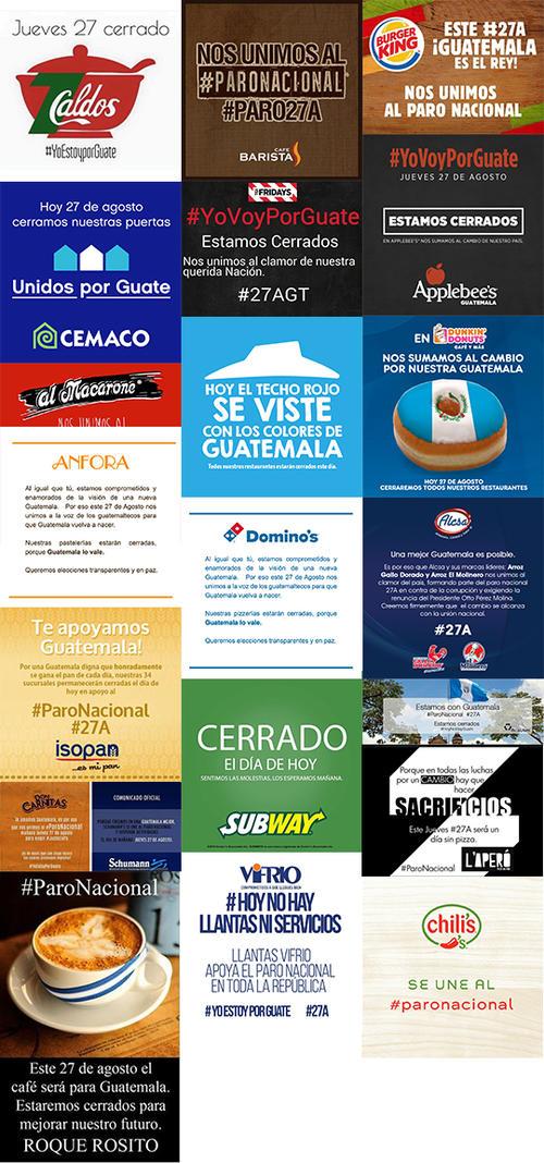 Ejemplos de empresas que cesaron su actividad durante el Paro Nacional. (Foto: Soy502)
