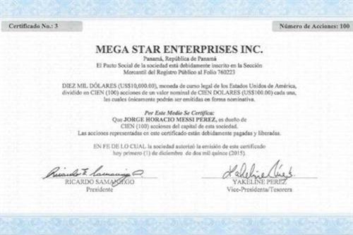 Documento que nombra a Jorge Horacio Messi como dueño de la compañía Mega Star Enterprises, ubicada en un paraíso fiscal. (Foto: Twitter)