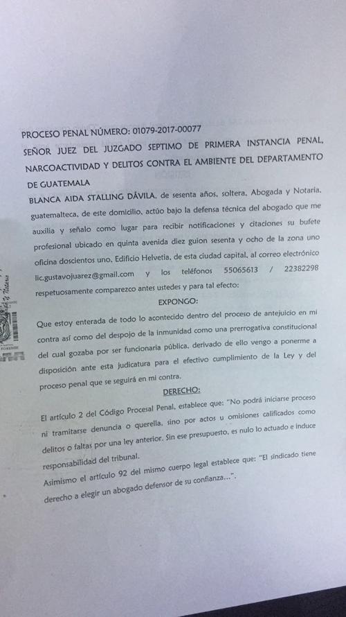 La magistrada Blanca Stalling se pone a disposición del juez Adrián Rodríguez.