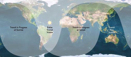 Mapa de dónde se podrá ver el paso de Mercurio frente al Sol. (Foto: NASA)